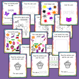 Color 'Purple' 16 Page Workbook  Help your children practice recognizing and writing the color purple, with 16 pages of activities to select and color.     The 16 pages contain, object coloring, tracing, spelling the color word and picking out the purple objects.