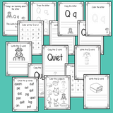 Alphabet Book Letter Q    Help your children practice recognizing and using Q, with 15 pages of activities.     The 15 pages contain, copying, tracing, writing, coloring, reading and spotting the letter and sound Q