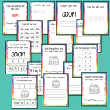 Sight word 'soon' 15 page workbook. Contains pages to learn the fry sight word 'soon', for learning the high frequency words. Contains handwriting practice, word practice, spelling and use in sentences. #sightwords # frywords #highfrequencywords