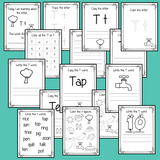 Alphabet Book Letter T    Help your children practice recognizing and using T, with 15 pages of activities.     The 15 pages contain, copying, tracing, writing, coloring, reading and spotting the letter and sound T