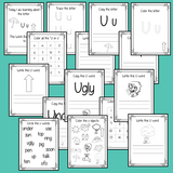 Alphabet Book Letter U Help your children practice recognizing and using U, with 15 pages of activities.     The 15 pages contain, copying, tracing, writing, coloring, reading and spotting the letter and sound U
