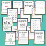 Sight word 'what' 15 page workbook. Contains pages to learn the fry sight word 'what', for learning the high frequency words. Contains handwriting practice, word practice, spelling and use in sentences. #sightwords # frywords #highfrequencywords