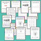 Sight word 'made' 15 page workbook. Contains pages to learn the fry sight word 'made', for learning the high frequency words. Contains handwriting practice, word practice, spelling and use in sentences. #sightwords # frywords #highfrequencywords