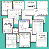 Sight word 'away' 15 page workbook. Contains pages to learn the fry sight word 'away', for learning the high frequency words. Contains handwriting practice, word practice, spelling and use in sentences. #sightwords # frywords #highfrequencywords