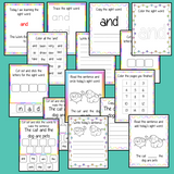 Sight word 'and' 15 page workbook. Contains pages to learn the fry sight word 'and', for learning the high frequency words. Contains handwriting practice, word practice, spelling and use in sentences. #sightwords # frywords #highfrequencywords
