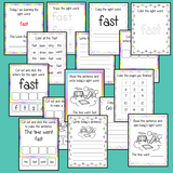 Sight word 'fast' 15 page workbook. Contains pages to learn the fry sight word 'fast', for learning the high frequency words. Contains handwriting practice, word practice, spelling and use in sentences. #sightwords # frywords #highfrequencywords