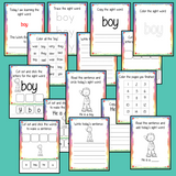 Sight word 'boy' 15 page workbook. Contains pages to learn the fry sight word 'boy', for learning the high frequency words. Contains handwriting practice, word practice, spelling and use in sentences. #sightwords # frywords #highfrequencywords