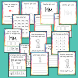Sight Word 'Him' 15 Page Workbook Help your children practice their sight words with 15 pages of activities to spell and use the sight word 'Him' in sentences.     The 15 pages contain, handwriting practice, tracing and spelling the word and sentence reading and construction.