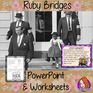 Ruby Bridges PowerPoint and Worksheets Lesson Fun history lesson to teach children about Ruby Bridges. Perfect for Black History Month in your classroom, make teaching about segregation and black history engaging. Great lesson with many facts and activities for your kids to enjoy. #lessonplanning #teaching #resources #historylessons #historyplanning #rubybridges #blackhistory #blackhistorymonth