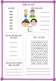 Spelling Activities for –ad words pre-k to 1st  This download includes 36 pages of printable spelling activities for teaching first –ad words . Activities include worksheets, games and display board parts. Please see preview for full list. #teaching #grammar #spag #spelling #punctuation #lessons #planning #english #prek