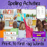spelling-activities-prek-ag Spelling Activities for –ag words pre-k to 1st  This download includes 36 pages of printable spelling activities for teaching first –ag words . Activities include worksheets, games and display board parts. #phonics #teaching #grammar #spag #spelling #punctuation #lessons #planning #english #prek