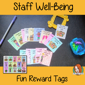 Staff Well-Being Fun Reward Tags Staff need motivating too! Brag Tags are such fun ways to reward the children in your class! Now these reward tags can be printed and used for your colleagues. This includes 15 reward tags Tags: My coffee didn't go cold today I didn't roll my eyes all lesson I stayed awake during the meeting I graded all the papers I didn't touch anything wet I didn't answer any work emails at the weekend #bragtags #rewardtag #awardtags #staffwellbeing #growthmindset