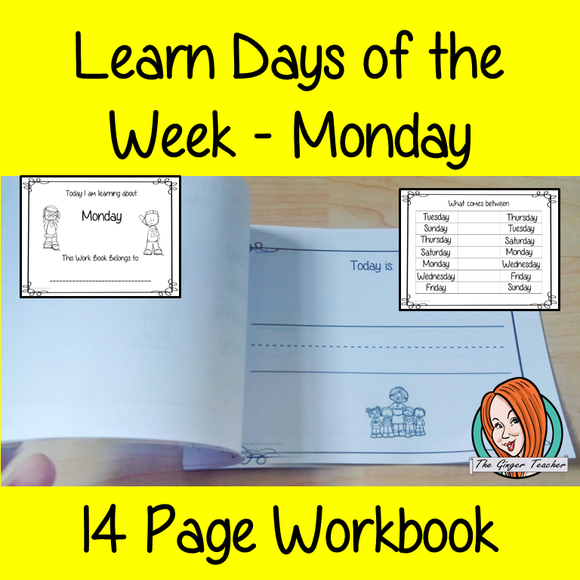 Days of the Week Pre-School Activities – Monday Teaching Days of the Week Pre-School Activities! Teaching Days of the Week Kindergarten Activities! This workbook contains 14 pages of activities for the children to learn about Monday. They learn how to spell the word, write about what they do on a Monday and then learn where Monday fits in with the rest of the week.