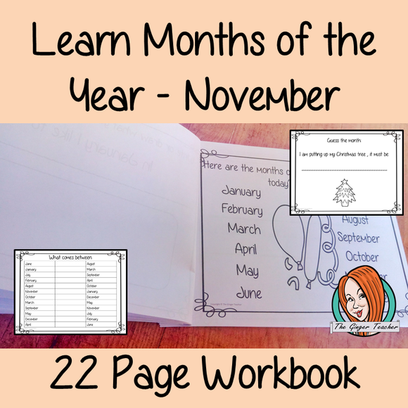 Months of the Year Pre-School Activities - November