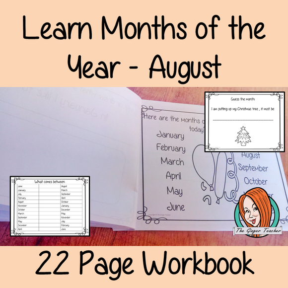 Months of the Year Pre-School Activities - August