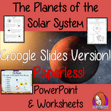 The planets of the Solar System Google slides and digital Worksheets This teaches children about the planets of the solar system complete lesson. There is a detailed 18 slide presentation on the different planets in the solar system. There are also differentiated, 6 page, digital worksheets to allow students to demonstrate their understanding. This pack is great for teaching kids about the planets of our solar system. #solarsystem #space #science #sciencelesson #planets #googleclassroom
