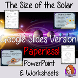 The Size of the Solar System google classroom lesson This download teaches children about the size of the solar system in one complete lesson. There is a detailed 24 slide presentation on the size of the planets, solar system and the moon. There are also differentiated, 7 page, digital worksheets to allow students to demonstrate their understanding. This pack is great for teaching kids about the size of our solar system. #solarsystem #space #science #sciencelesson #googleclassroom