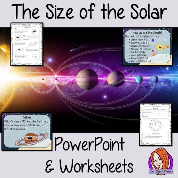 The Size of the Solar System PowerPoint and Worksheets This download teaches children about the sie of the solar system in one complete lesson. There is a detailed 24 slide PowerPoint on the size of the planets, solar system and the moon. There are also differentiated, 7 page, worksheets to allow students to demonstrate their understanding. This pack is great for teaching kids about the size of our solar system. #solarsystem #space #science #sciencelesson