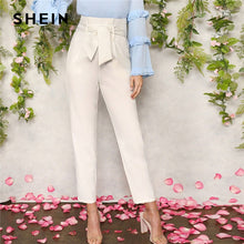 Load image into Gallery viewer, SHEIN Women White Elegant High Waist Self Belted Carrot Plain Pants 2019 Spring Office Lady Basic Workwear Women Trousers