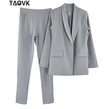 Load image into Gallery viewer, TAOVK Work Pant Suits OL 2 Piece Sets Turn-down Collar Blazer Jacket & Trouser Suit for Women Feminino Spring Autumn Workwear