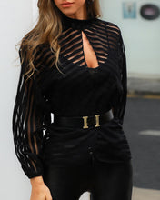 Load image into Gallery viewer, Women Elegant Basic Black Casual Shirt Female Stylish OL Work Top Stripes Keyhole Front Mesh Blouse blusas mujer de moda 2019