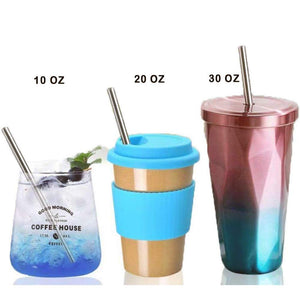 4Pack Reusable Metal Straws Collapsible Stainless Steel Drinking Straw Portable Telescopic Straw Black/Blue/Red/Silver