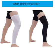 Leg Sleeves Compression Long Sleeve Calf and Shin Supports for Football Basketball Cycling Size XL ( White)