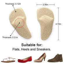 Beautulip Arch Support Cushions Adhesive Metatarsal and Arch Gel Inserts Flat Feet Pain Relief Ball of Foot Pads - Absorb Sweat Comfortable High Heels Inserts Pack of 6 Beige