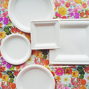 "Susty Party Supplies 50 Count 100% Compostable Sugar Cane Heavy Duty Plate for Salad, 9"", White"