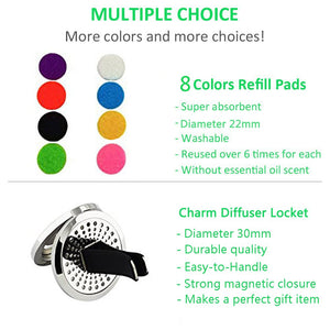 JAOYU Car Aromatherapy Essential Oil Diffuser Stainless Steel Locket Air Freshener with Vent Clip 8 Felt Pads Turtle Jewelry for Women Girls Gifts aromatherapy car