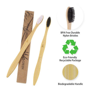 Bamboo Toothbrush - Comfine Biodegradable Reusable Toothbrush, Made of Natural Bamboo and Environmentally Friendly BPA-Free Bristles, 8 Pack Adult