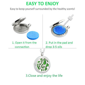 GelConnie Essential Oil Diffuser Necklace Aromatherapy Pendant Stainless Steel Locket Fragrance Jewelry for Women, Sister, Wife Music Diffuser Necklace
