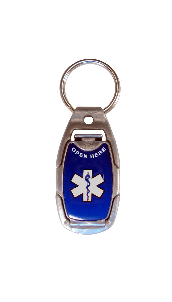 Medical Alert ID Tag, Safety, Sport and Everyday Necklace, Tag, Keychain, Zipper Pull, or Dog Tag (Blue) Blue