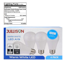 JULLISON A19 LED Light Bulb, 14W, 1500 Lumens, 100W Equivalent, 3000K Warm White, CRI80+, Non-dimmable, E26 Base, UL-Listed(4-Pack)