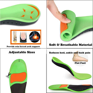 Breathable Plantar Professional Fasciitis Insoles Arch Support Orthotic Relieve Flat Feet for Women Men and Kids Replacement Shoe Inserts US Men's(10.5-12)-US Women's(11.5-13) Green