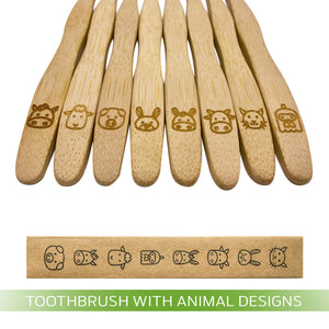 Bamboo Wood Toothbrush with Animal Designs | Pack of 8 | Eco-Friendly | Soft Colorful Bristles for Kids | Free Bonus Toy Surprise