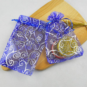 100 Pieces Per Pack 5x7 inch Gift Wrap Bags Blue Rattan, Organza Sheer Transparent Fabric, Drawstring Treat Bags for Baby Shower Favor, House Party Favors, Bridal Shower Favors, LipSense Holder, Toys