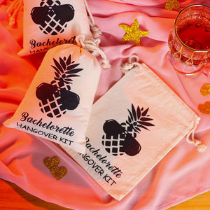 SHERWAY Pineapple Bachelorette Bachelor Party Favor Bags, Wedding Survival Recovery Kit Bags, Cotton Drawstring Hangover Kit Bags (Beige, 5 x 7 Inch, 10 Pieces)