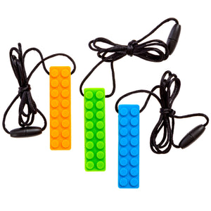 Sensory Chew Necklace Chewing Tool–(3 Pack with Extra Cord & Clasp)