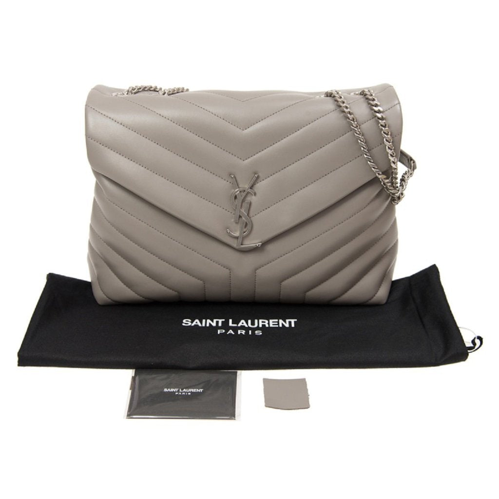 071de23190c Pearl Grey Saint Laurent Loulou Monogram Chain Shoulder Bag – Daily ...