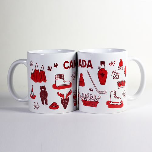 two mugs together showing illustrations of Canadian things e.g. moutains bears moose poutine maple syrup double-double hockey
