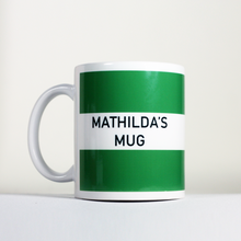 Load image into Gallery viewer, striped green mug with personalized name mathilda's mug