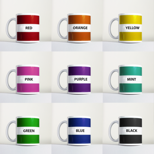 simplistic personalized and custom mug in a range of colours