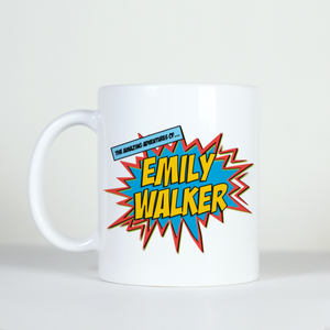 custom personalized name comic cartoon style coffee mug explosion image