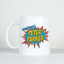 Load image into Gallery viewer, comic book style pow boom image adventures of peter park coffee mug