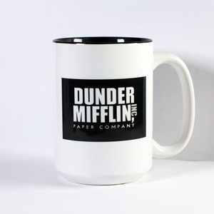 mug with logo of dunder mifflin from comedy show the office
