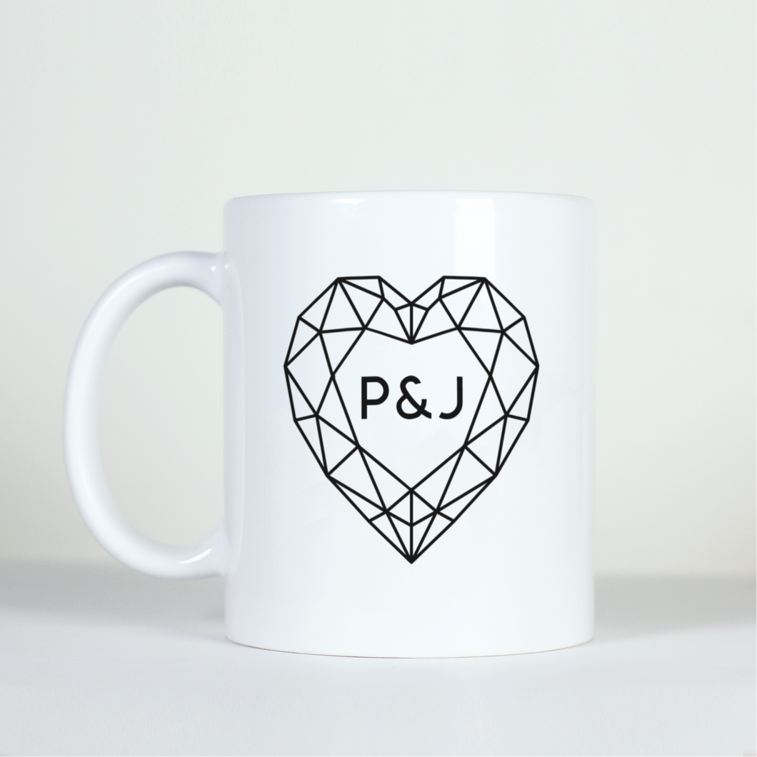 Custom Geometric Heart Mug