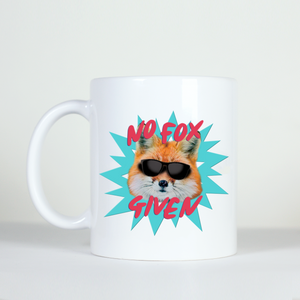 mug design of a cool fox wearing sunglasses with caption no fox given