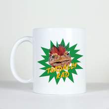 Load image into Gallery viewer, image of green toad with mo-hawk on white mug saying totally rad