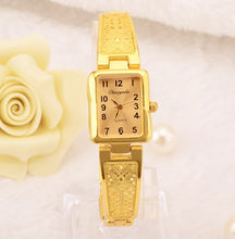 Load image into Gallery viewer, Women Vintage Luxury Gold + Silver Watches Elegant Quartz Fashion Rectangle Dial Watch Carved Pattern Bracelet Casual WristWatch